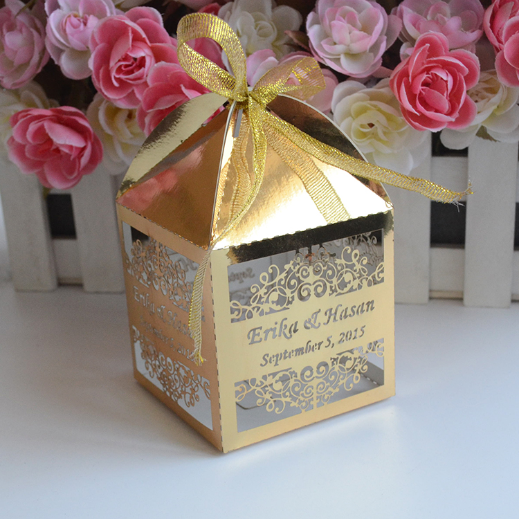 Luxury Cone Shaped Custom Metallic Gold Laser Cut Wedding Favor Boxes