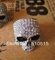 Rhinestones Skull Biker Till Death Do Us Part Ring