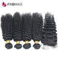 Virgem Peruana Cabelo Encaracolado 5 pcs Lot Kinky Curly Hair Lace Encerramento com Feixes Peruano Kinky Curly Virgem Cabelo com fechamentos