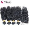 Virgin Перуанские Вьющиеся Волосы 5 шт. Лот Kinky Вьющихся Волос Кружева Закрытие с Связки Перуанский Kinky Вьющиеся Девы Волос с закрытие