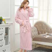 New Women Extra Long Warm Bath Robe Thick Silk Flannel Bathrobe Femme Kimono Robes Bride Dressing Gown Bridesmaid Robes Wedding