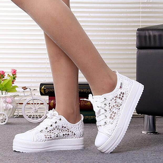 Летние женские туфли повседневные вырезы парусиновая обувь со шнуровкой  полые цветочные дышащая обувь на платформе обувь на плоской подошве Sapato  Feminino ... 1f91efb4827