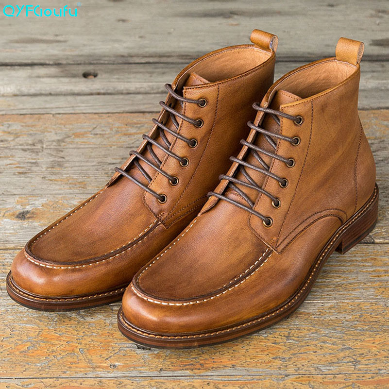 QYFCIOUFU Luxury Autumn Mens Chukka Boots Genuine Leather Shoes Vintage Round Toe Work Boots Casual Lace up Comfort Dress Boots in Chelsea Boots from Shoes