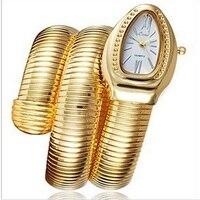Luksusowe Wąż Kształt Stylowe Kwarcowy Złota Biżuteria Srebrna Bransoleta Wrist Watch dla Kobiet Ladies Dziewczyny Zegar