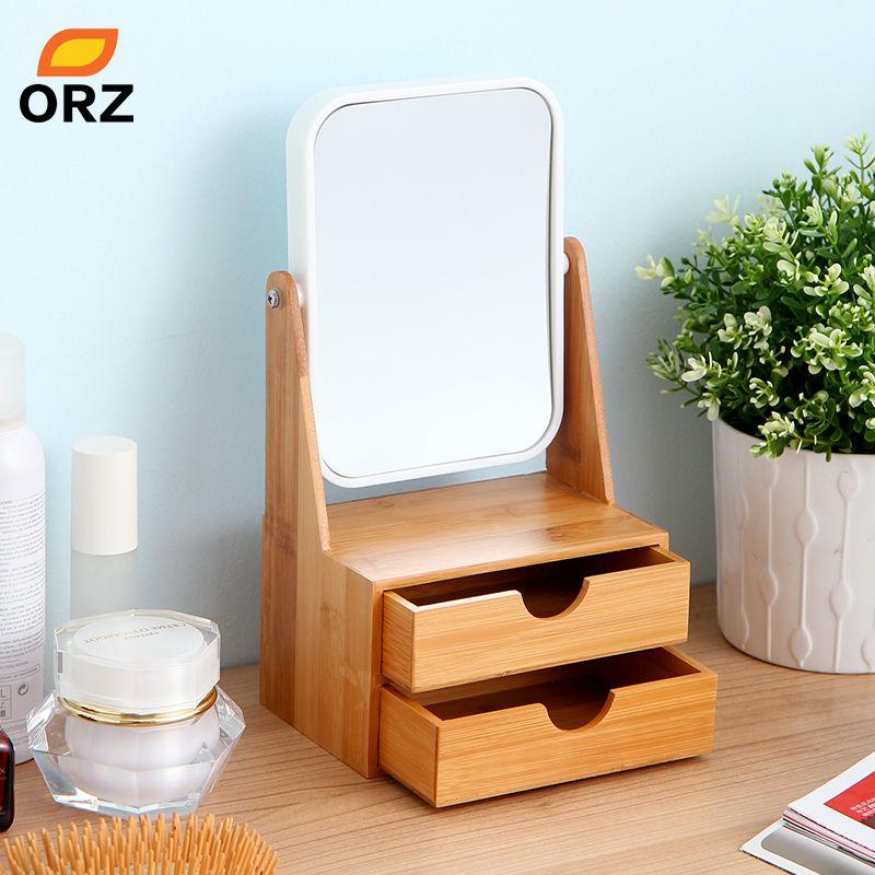 Tt Orz Kotak Bambu Dengan Cermin Laci Kosmetik Makeup Organizer