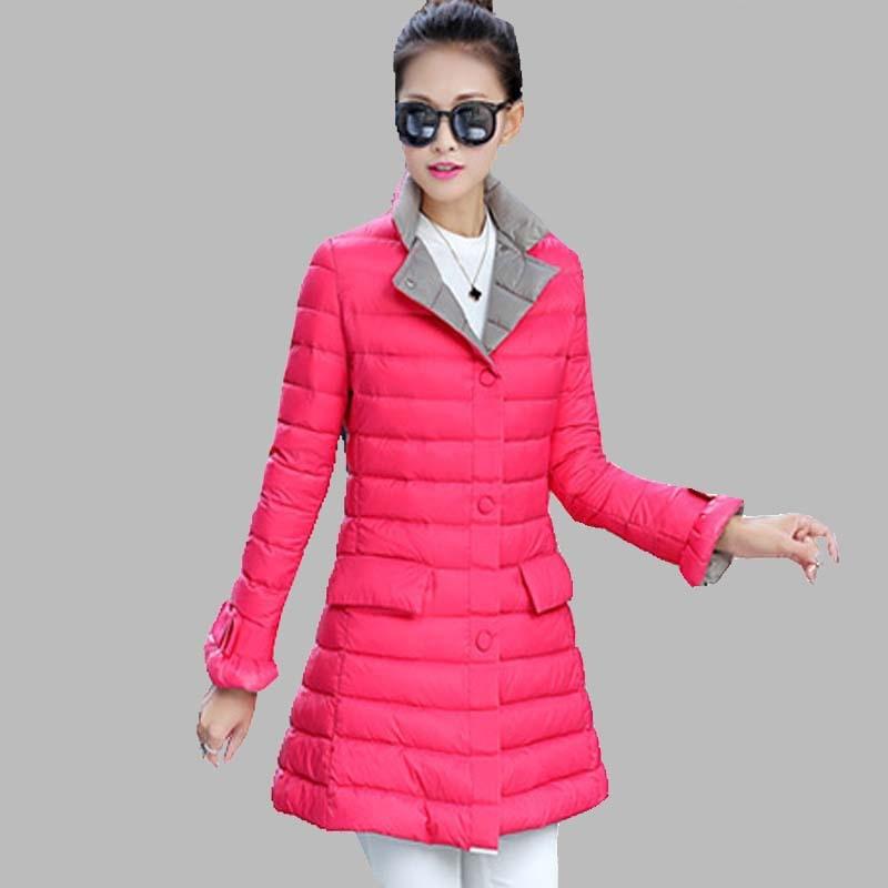 2016 New Light Duck Down Winter Jacket Women Long Slim Coat Simple Elegant Plus Size Winter Warm Parka casaco feminino JY-706