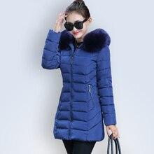 Новые Длинные Зимняя Куртка Женщин 2016 Большой Меховой Воротник Капюшон хлопок Проложенный Теплые Парки Для женщин Зимнее Пальто Женщина Манто Femme