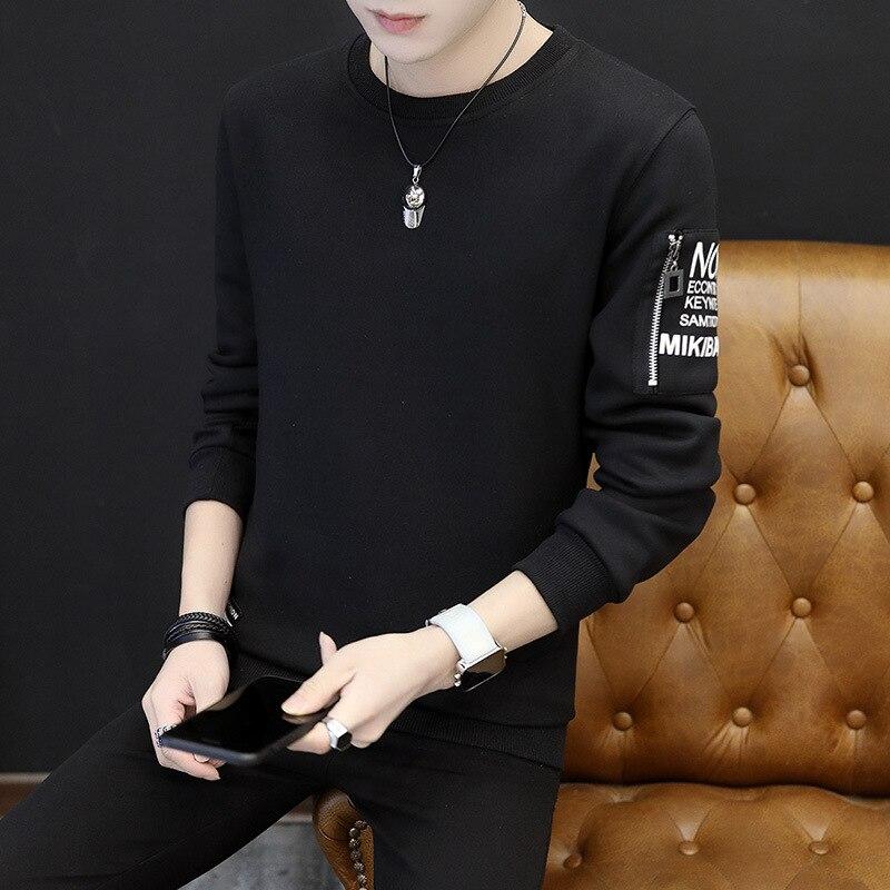 Мужская толстовка уютная печать с длинным рукавом преппи Повседневный пуловер - Цвет: Черный