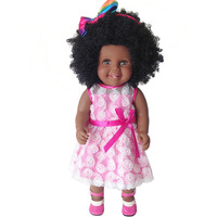 African Black Doll 45CM Afro hair style silicone vinyl girl reborn baby dolls toys for children gift American alive doll