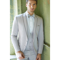 New Sale Top Fashion Custom For Peaked Lapel Mens Suits Grey Wedding For Men Tuxedos Two Button Groomsmen (jacket+pants+vest)