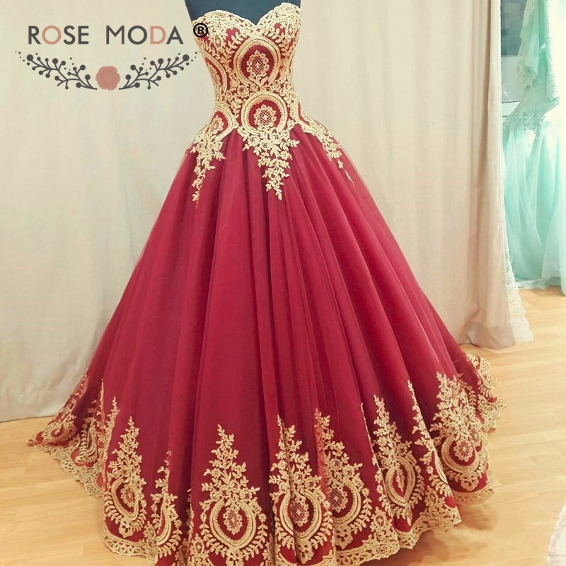 Beautiful Red And White Wedding Dress: Rose Moda Fashion Wine And Gold Lace Wedding Ball Gown