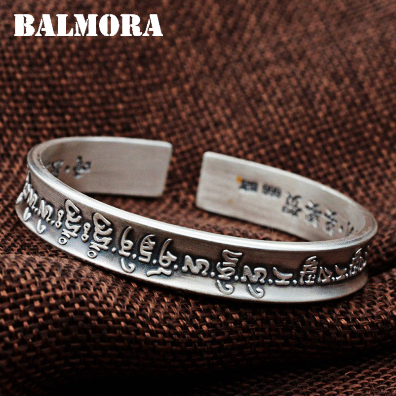 BALMORA 999 Pure Silver Buddhistic Scripture Open Bangles for Women Men about 18cm Bracelet Religious Jewelry
