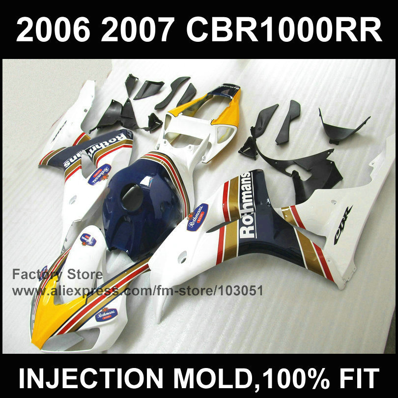 Custom free 100% injection Motorcycle Fairings kit for HONDA 06 07 CBR 1000RR 2006 2007 CBR1000RR blue Rothmans fairing parts injection mold fairing for honda cbr1000rr cbr 1000 rr 2006 2007 cbr 1000rr 06 07 motorcycle fairings kit bodywork black paint