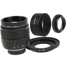 FUJIAN 50mm F1.4 CCTV Lente Filme + Montagem + Lente C-FX capô + anel macro para fuji fujifilm x-a2 x-a1 x-t1 x-e2 x-1m