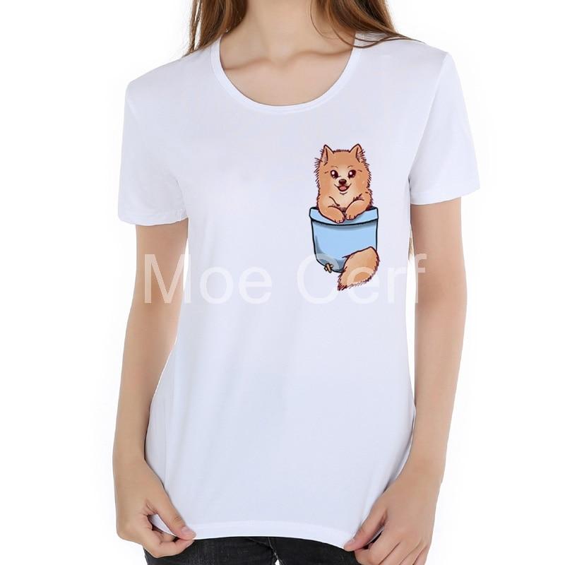 Summer Fashion Pocket Cute Pomeranian Puppy French Bulldog Sleeve Casual T Shirt Cool Lady Tops kawaii women t shirts L17-37