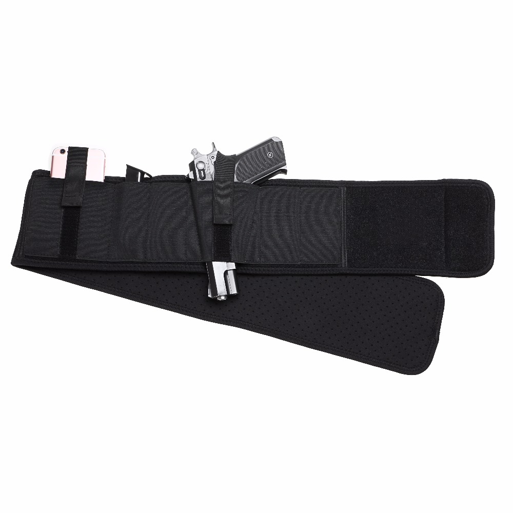 Tactical Hunting Waist Holster Ambidextrous Ventilated Neoprene Belly Band Holster Right Hand Concealed Carry Fit Any Waist Size