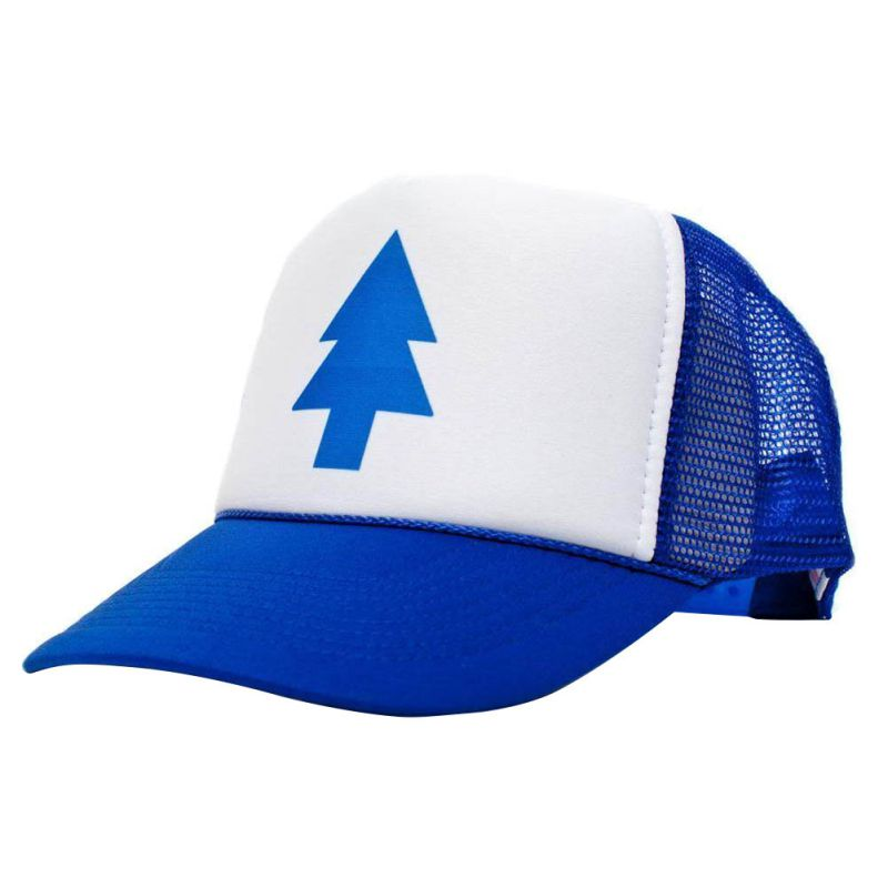 Unisex Women Men   Cap   Curved Bill BLUE PINE TREE Dipper Gravity Falls Cartoon Mesh Hat