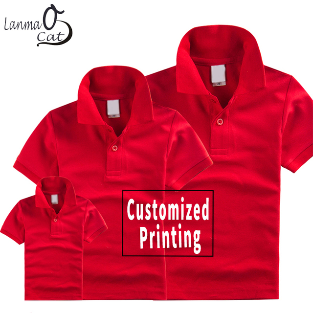 Lanmaocat Design Shirts Dad Mom Son Daughter Custom Top Shirts Family  Clothing Custom Print Cotton Tops Free Shipping