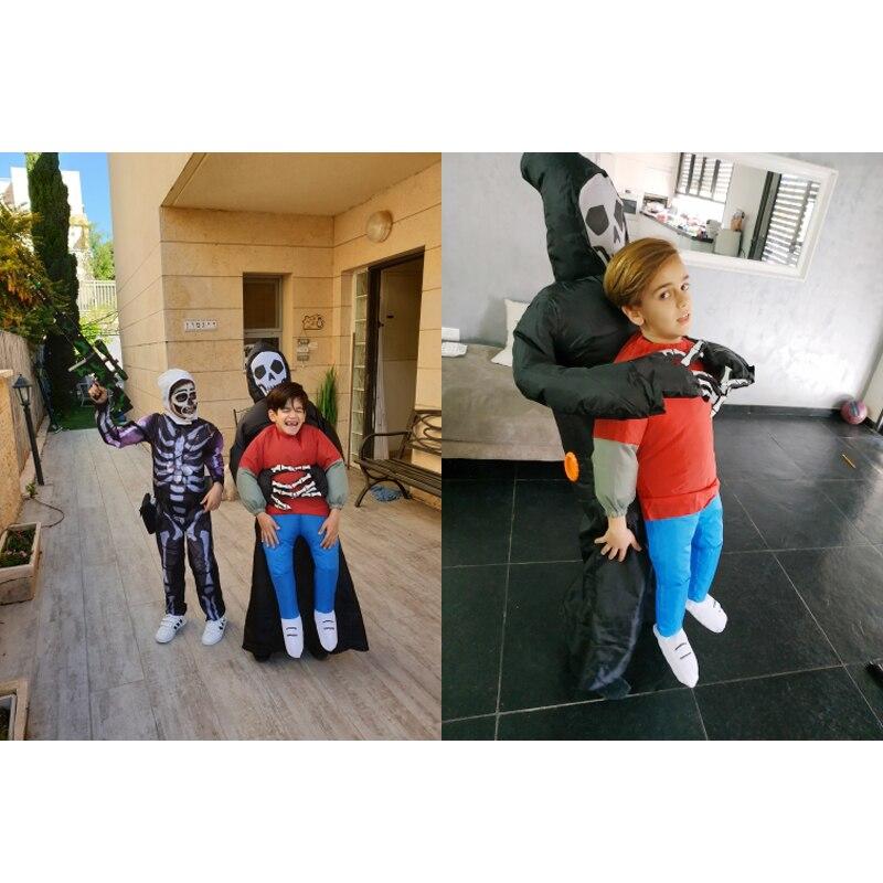Купить с кэшбэком JYZCOS Inflatable Grim Reaper Costume Halloween Costumes for Women Man Kids Party Cosplay Costume