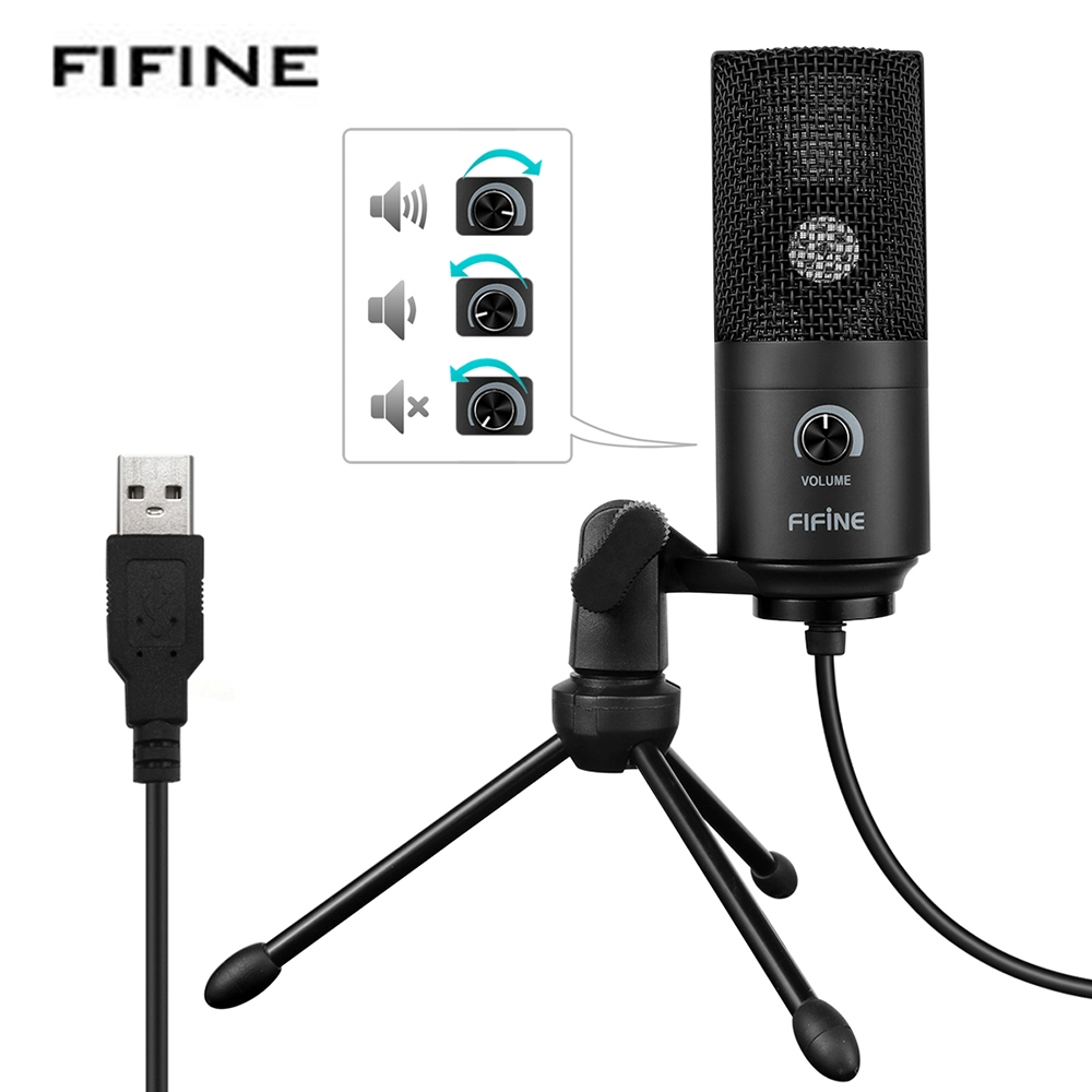 Fifine K669 Microphone USB Wired Desktop Studio Video Recording Microphone Karaoke Mic Tripod Stand For Computer Laptop OS gevo sf 910 microphone for phone 3 5mm cable wired with tripod stand pc mic for computer laptop karaoke studio desktop recording