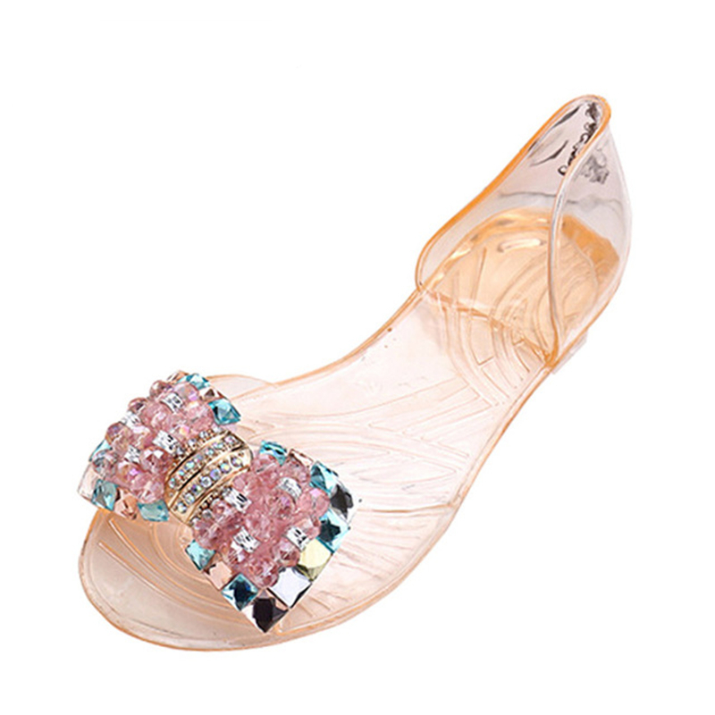 Ladies Shoes Women Sandals Summer Style Bling Bowtie Peep Toe Jelly Shoes Woman Crystal Flats Ladies 4 Colors Size 35-40 gold sliver shoes woman for 2016 new spring glitter bling pointed toe flats women shoes for summer size plus 35 40 xwd1841