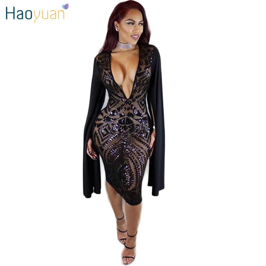 HAOYUAN Black sequin dress 2018 sundress club robe sexy dress vestidos  mujer women clothing see through 4c06a8174418