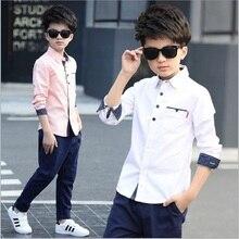 Новинка года, повседневные рубашки с отложным воротником на рост от 110 до 160 см синие, розовые, белые блузки для мальчиков на весну и осень