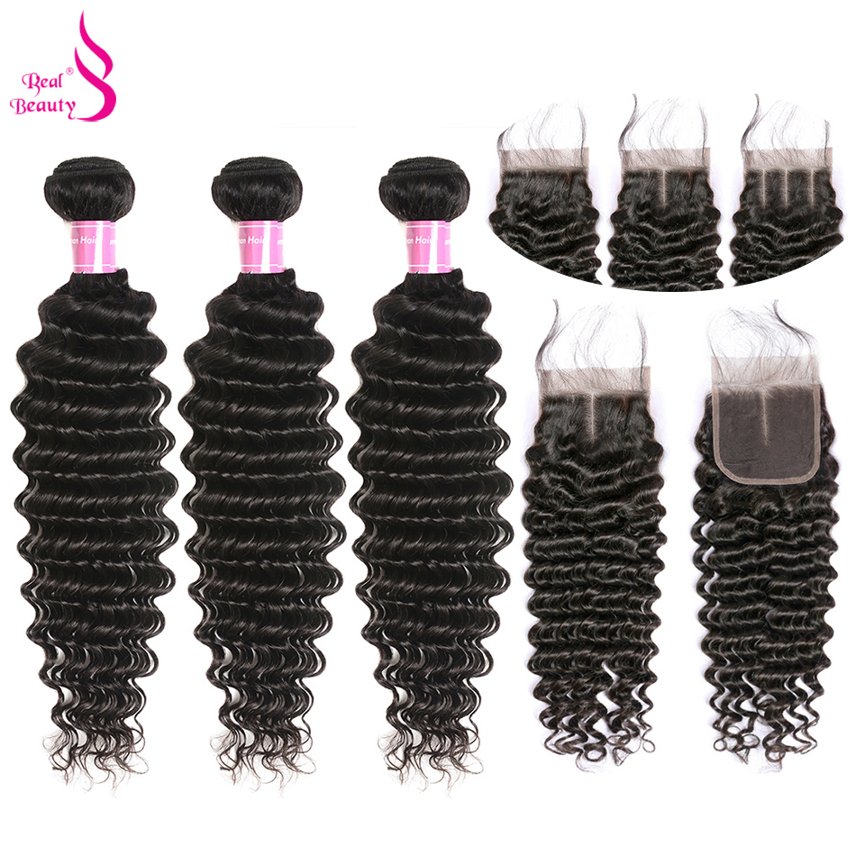 Indian Deep Wave Bundles With Closure 100 Remy Human Hair Weave 8 28 Inches With Lace