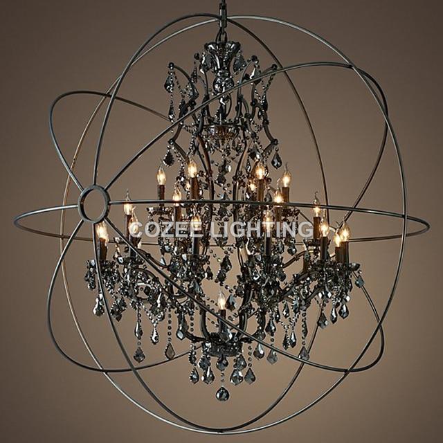 Vintage Smoky Crystal Chandelier Hanging Lighting Orb Globe Matt Black  Chandeliers Light For Living Dining Room