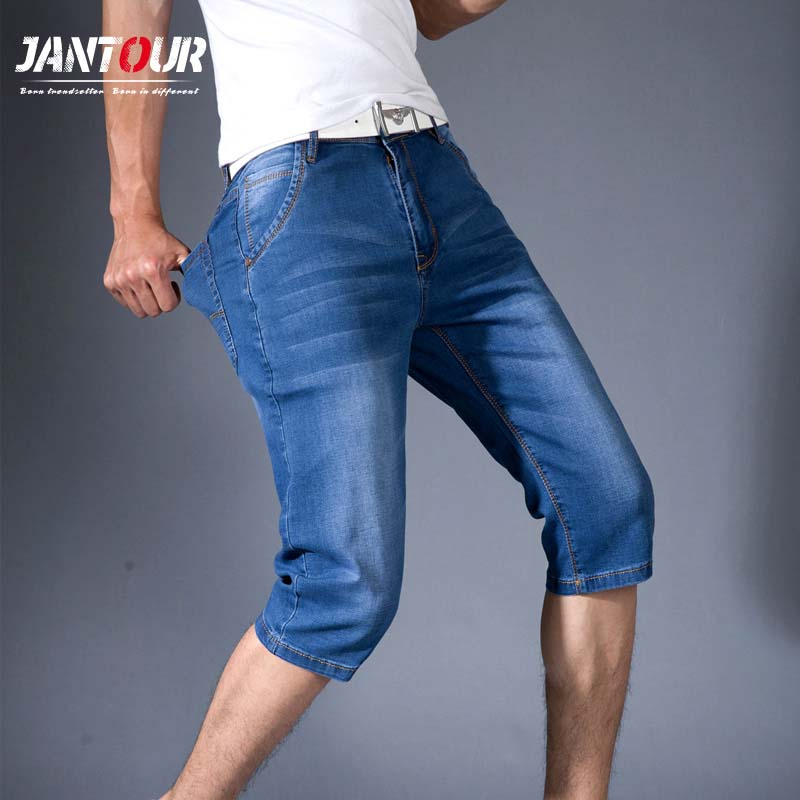 jantour new Mens Summer Stretch Lightweight Blue Denim   Jeans   Short for Men   Jean   Shorts Pants Plus Size 32 33 34 35 36 38 40 42
