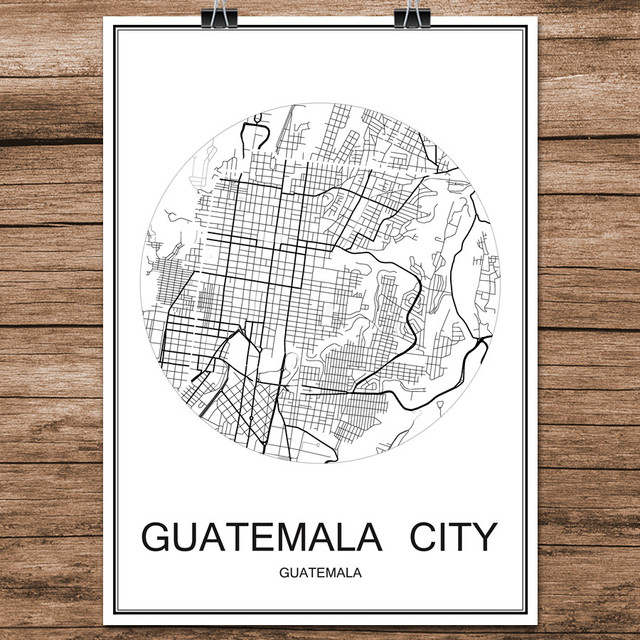 Guatemala city famous world city street map print poster abstract guatemala city famous world city street map print poster abstract coated paper cafe living room home gumiabroncs