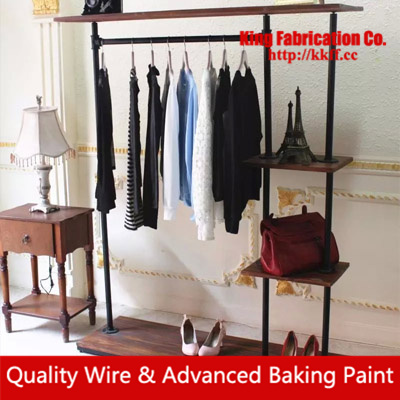 Retro-grade display model side walls with solid wood, wrought iron clothes rack store shelves
