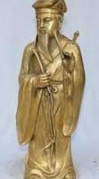 16Famous Chinese Taoism Bronze Stand God Immortal Lu Dongbin Lu Tung Pin Statue S0708