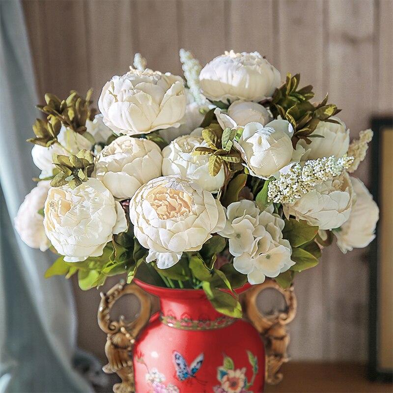 13 Niederlassungen Pfingstrose Blumen Kunstliche Blume Vintage