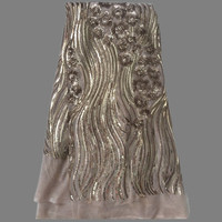 Graceful Beige With Flower Sequins French Tulle Mesh Lace Fabric African Organze Net Wedding Dress Material