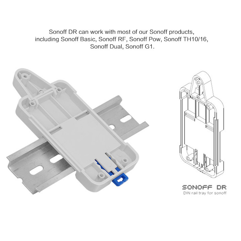 Sonoff DR DIN Rail Tray Adjustable Mounted Rail Case Holder Solution for Sonoff Switch(Basic/TH10/16/Pow/Dual/G1) GHMY
