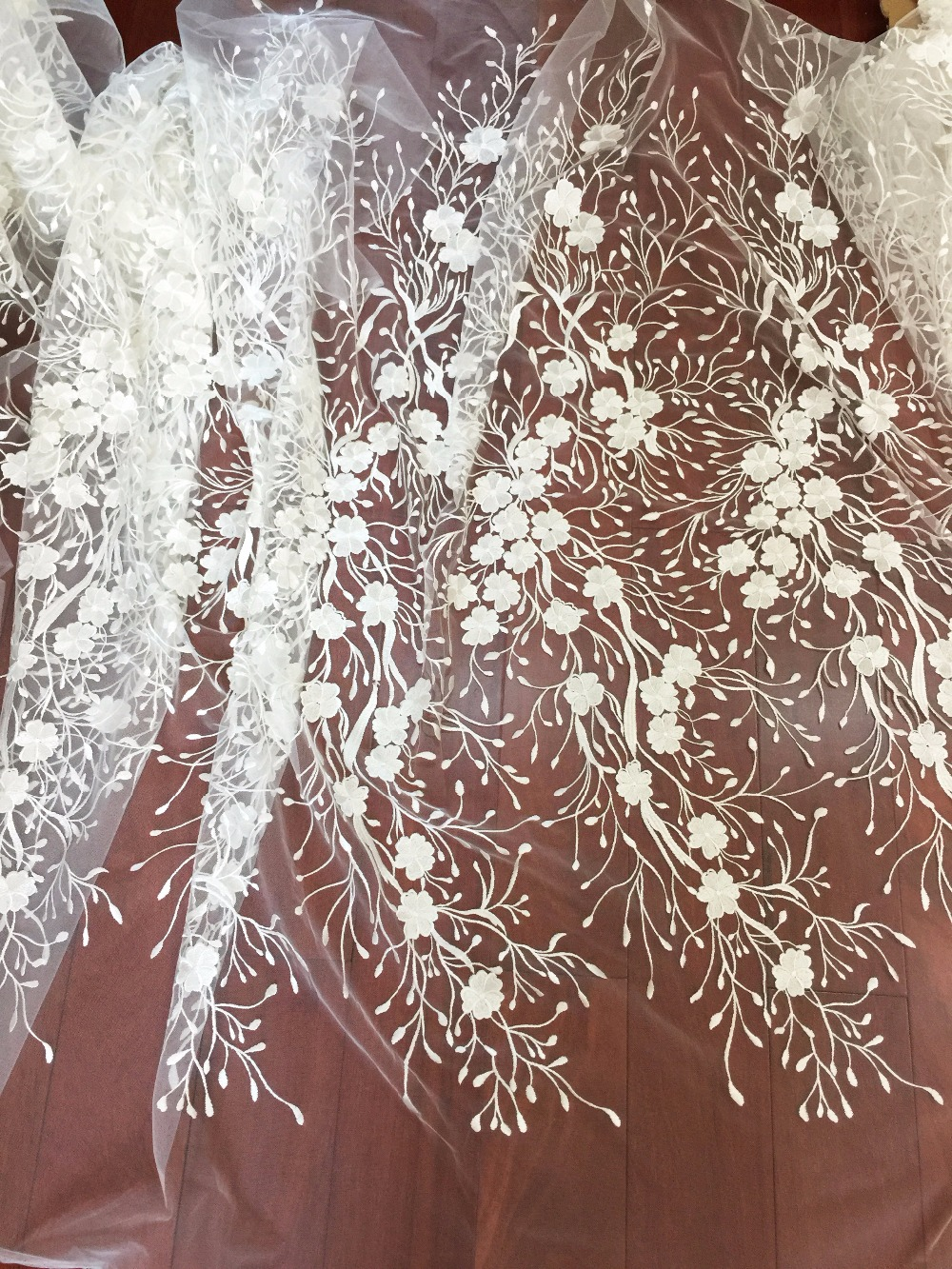 5 yards Floral embroidery bridal lace fabric in off white for wedding gown bridal fabric christening