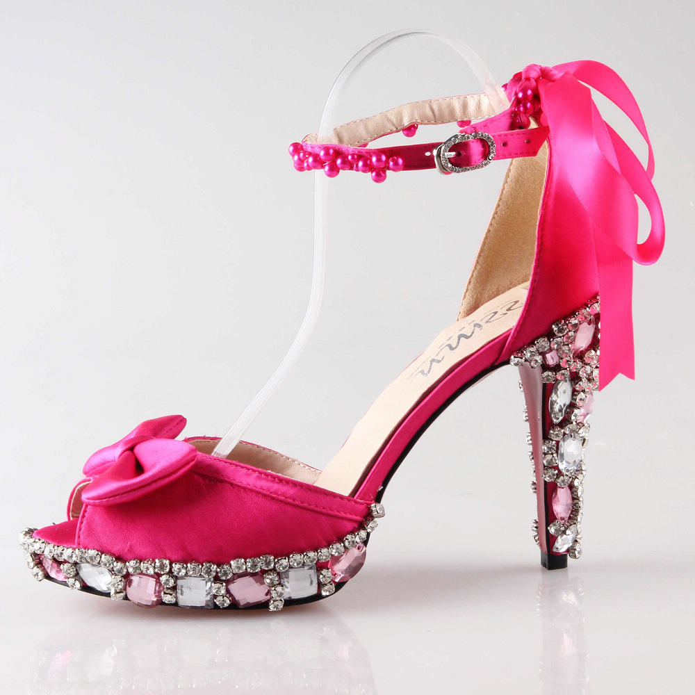Fashion Hot Pink Fuchsia High Heel Sandals D Orsay Crystal Heels Wedding Party Prom Bridal Shoes Ribbon Tie Pearls Ankle Strap In From On