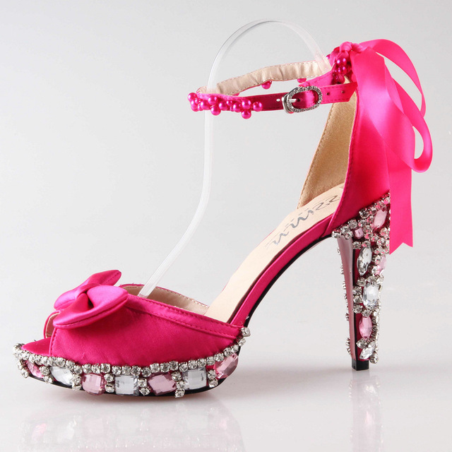 Fashion hot pink fuchsia high heel sandals D'orsay crystal heels ...