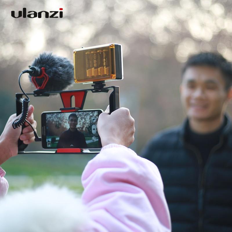 Ulanzi Handheld Smartphone Video Rig Case 2 hot Shoe Mounts Video Stablizer Handle Grip for iPhone Samsung Live Stream Filmmaker
