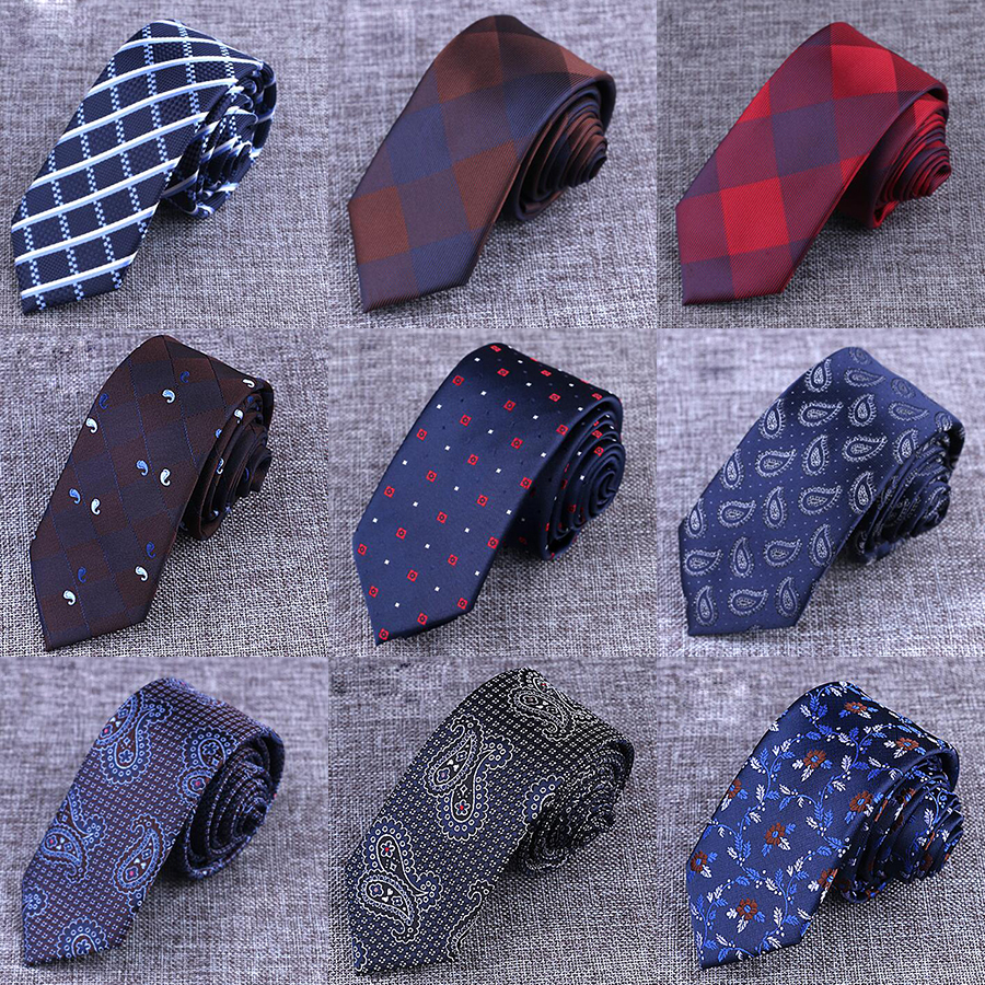 JEMYGINS Burra Mens Ties Man Fashion Paisley Dot Neckties Gravata Jacquard 6cm Tie Corpas Slim Tie Corbatas Hombre 2016 Dasma e lidhjes për burra