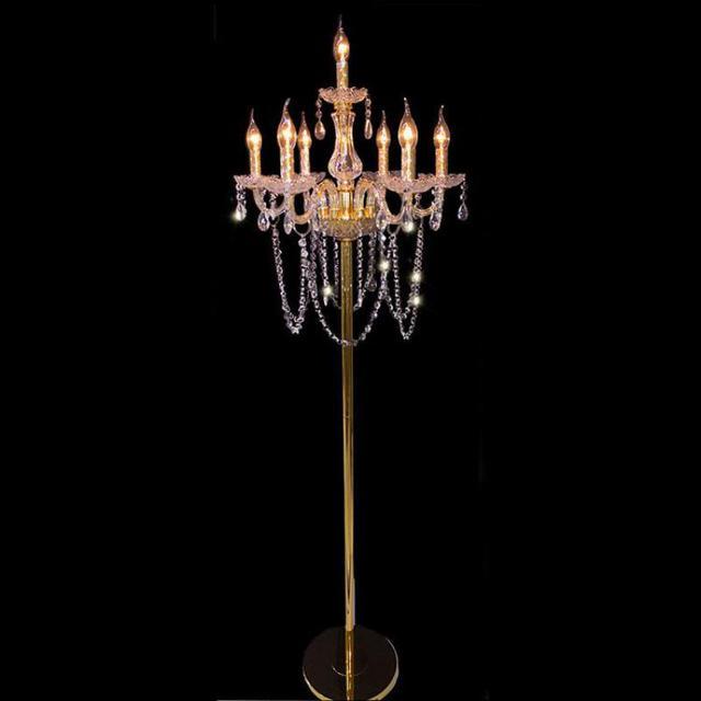 Wedding gold Led candle floor light for Restaurant showcase E14 Led Lambader 7-arm large Glass crystal floor lamp holiday light