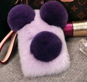 Image 4 - Lüks Panda tavşan kürk iPhone 11 12 Pro Max X XS MAX XR 7 8 artı 6 6S artı karikatür sıcak kabarık saç peluş kılıf kapak