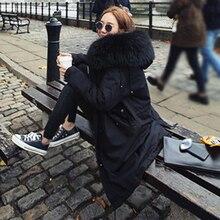 2016 Новый зима женщины пуховик черный хлопок длинный участок свободные пальто сгустите теплый большие волосы воротник корейской моды femme куртка