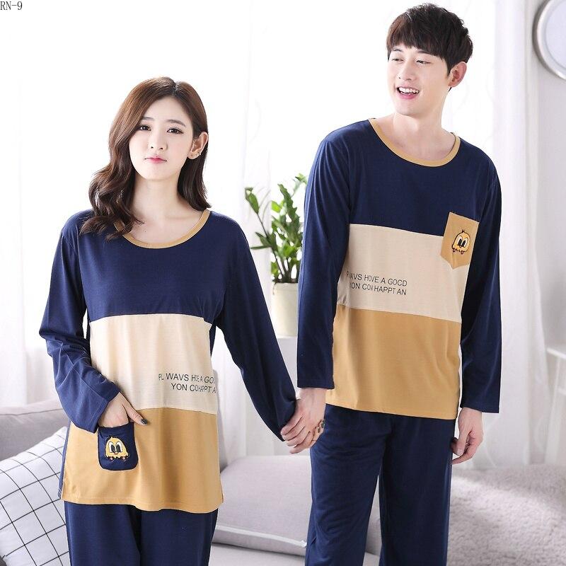 Good Quality 2019 Spring Couple   Pajamas     Set   Long Sleeved Lovers Pijamas Suit Men and Women Casual Sleepwear Sweetheart   Pajamas