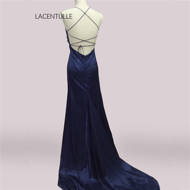 V Neck Backless Navy   Prom     Dresses   with Tie Back Long Short Train Special Occasion   Dresses   with Lace Bodice
