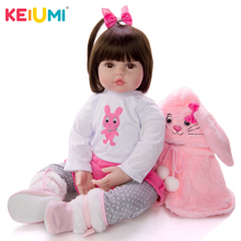 KEIUMI Soft Silicone Realistic Baby Dolls Fashion Princess Girl Doll Baby Reborn Toys Cosplay Rabbit Toddler Birthday Gifts