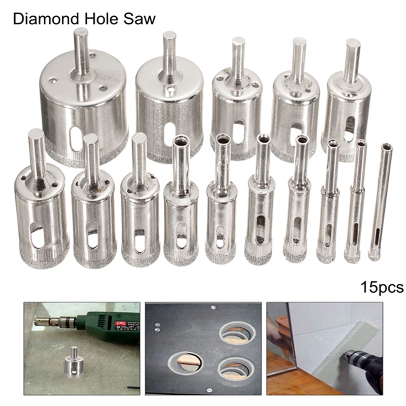 10//15pc Diamond Cutter Hole Saw Drill Bit Tool Set For Tile Ceramic Glass 6-50mm