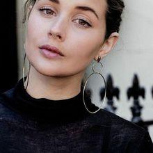 Double Circle Cross Hoop Dangling Drop Earrings For Women Girls Fashion Jewelry