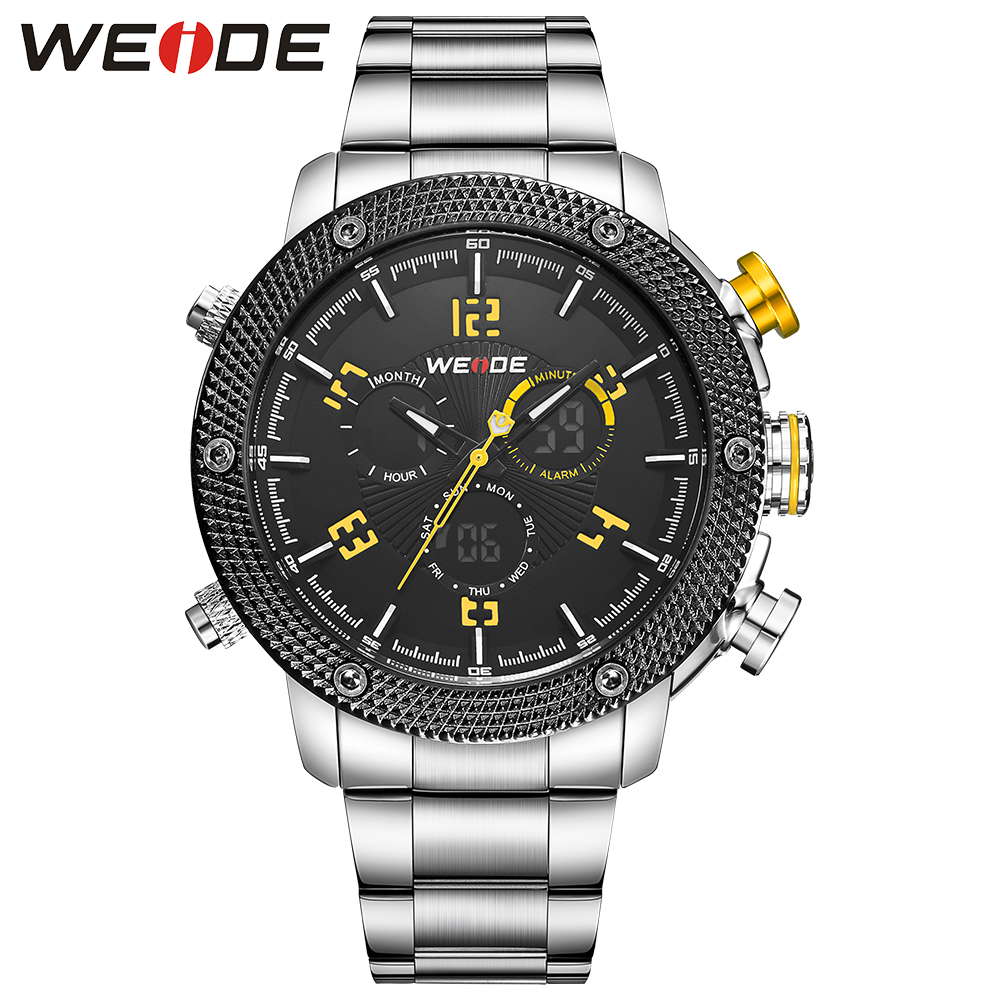 Casual genuin Luxury Brand WEIDE Watch Men Quartz Digital Date Alarm 3ATM Waterproof Male Clock Relogio Masculino Relojes Hombre weide casual genuin brand watch men sport back light quartz digital alarm silicone waterproof wristwatch multiple time zone